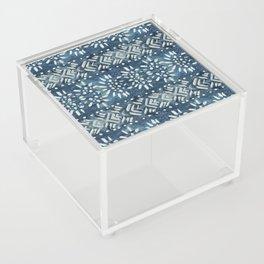 Vintage indigo inspired  flowers and lines Acrylic Box