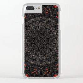 Red and Black Bohemian Mandala Design Clear iPhone Case