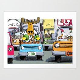 Duck, Duck, Moose in Traffic Art Print