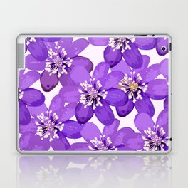 Purple wildflowers on a white background - spring atmosphere Laptop & iPad Skin