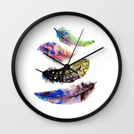 Psychedelic Feathers Wall Clock