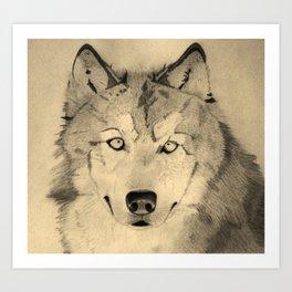 Wolf, natural Art Print