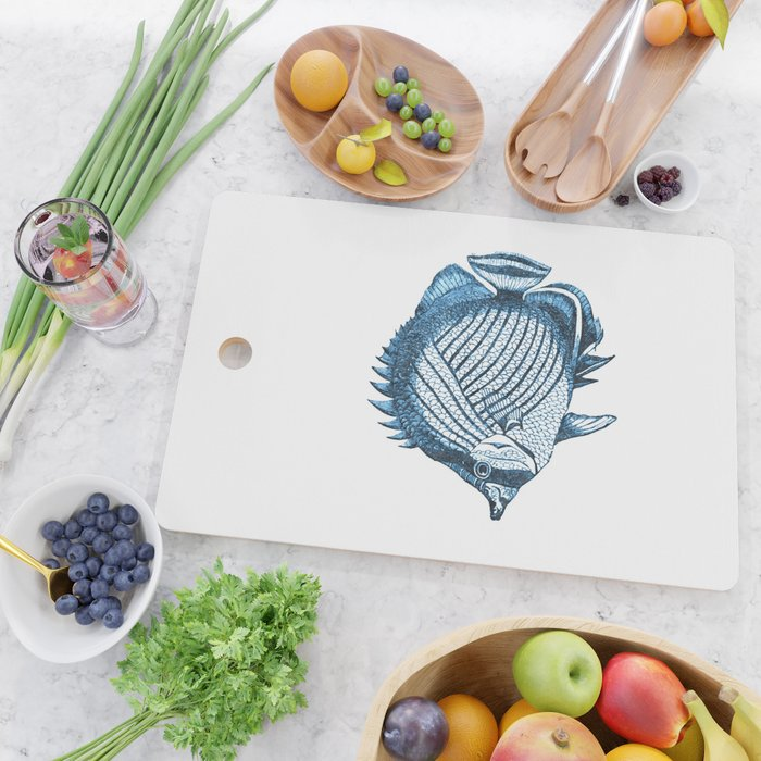 Fish coastal ocean blue watercolor Cutting Board
