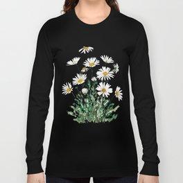 white Margaret daisy watercolor Long Sleeve T-shirt