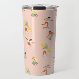 Skateboarding in California of 70s Travel Mug