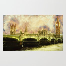 Abstract Golden Westminster Bridge in London Rug