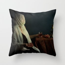Lady justice with  pomegranate Throw Pillow