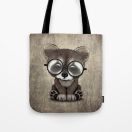 Cute Nerdy Raccoon Wearing Glasses Tote Bag