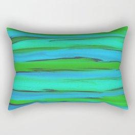 Apple Green, Seafoam, and Azure Blue Stripes Abstract Rectangular Pillow