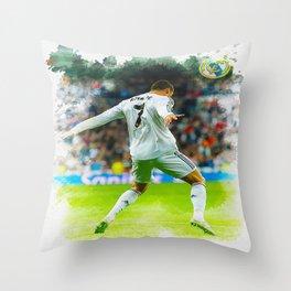 Cristiano Ronaldo celebrates after scoring Throw Pillow