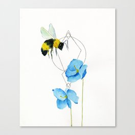 save the bees minimalist geometric watercolor Canvas Print