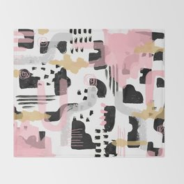 Mosaic Abstract Pink, Black Throw Blanket