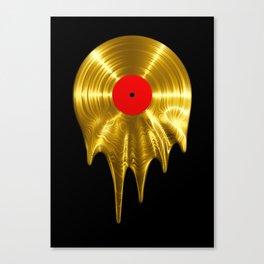 Melting vinyl GOLD / 3D render of gold vinyl record melting Canvas Print