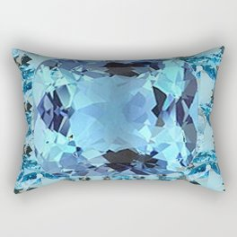 APRIL BIRTHSTONE BLUE AQUAMARINES FACETED GEMS  ART Rectangular Pillow
