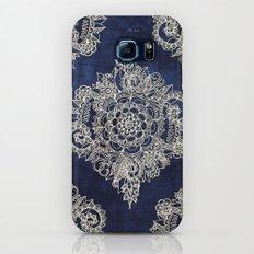 Cream Floral Moroccan Pattern on Deep Indigo Ink Slim Case Galaxy S8