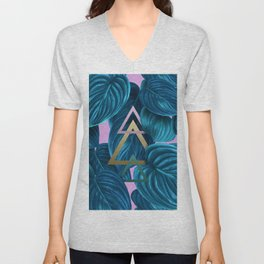 tropical turquoise leaves pattern Unisex V-Neck