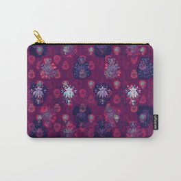 Lotus flower - wine red woodblock print style pattern Carry-All Pouch