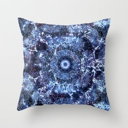 Iris Mandala Blue Throw Pillow