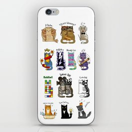 Science cats. History of great discoveries. Schrödinger cat, Tesla, Einstein. Physics, chemistry etc iPhone Skin