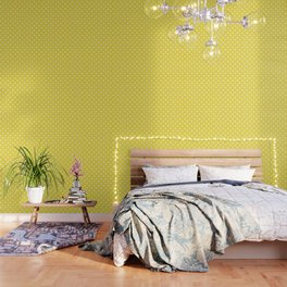 Butter Yellow Southern Cottage Fleur de Lys Wallpaper