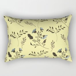 Butter Yellow and Bluebells and Bluebirds Floral Pattern Flowers in Blue and Bark Brown Rectangular Pillow