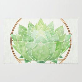 Modern Green Succulent with Metallic Gold Accents Rug