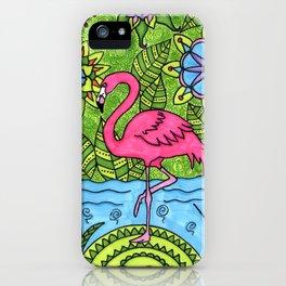 Pink flamingo iPhone Case