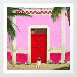 Pugs on Pink Art Print
