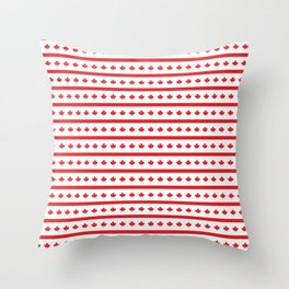 Canada Day Maple Leaf Stripe Throw Pillow
