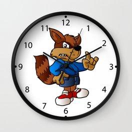 angry raccoon cartoon . Wall Clock