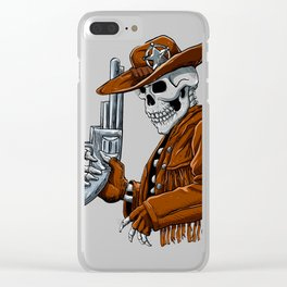 Skull cowboy.Skeleton Clear iPhone Case