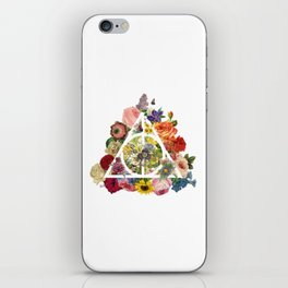 Floral Deathly Hallows - White iPhone Skin