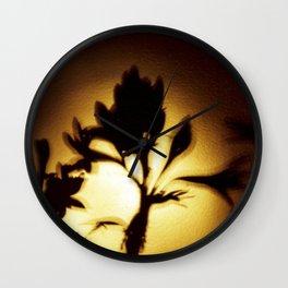 Yellow and Black Floral Shadow Art Print Wall Clock