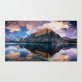 Mountain and Lake Reflection Landscape Canvas Print