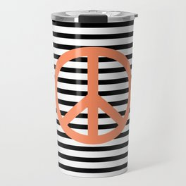 Peace sign in pink with black and white lines background Travel Mug