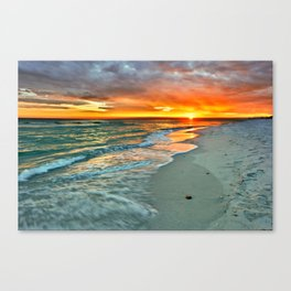 Orange Sunset Green Waves Beach Fine Art Prints Canvas Print