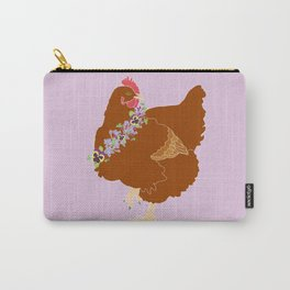Red Hen Spring Chicken Flower Illustration Carry-All Pouch