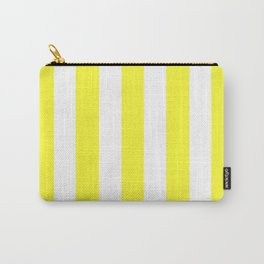 Yellow (RYB) - solid color - white vertical lines pattern Carry-All Pouch