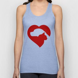 Pet Rescue Cat and Dog Red Heart of Love Unisex Tank Top