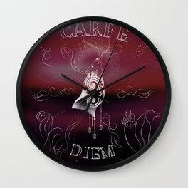 Carpe Diem [purple background] Wall Clock