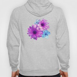 Dark pink and blue floral pattern Hoody
