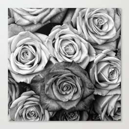 The Roses (Black and White) Canvas Print