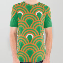 retro sixties inspired fan pattern in green and orange All Over Graphic Tee
