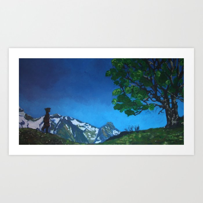 CHILD IN THE MOUNTAIN Art Print