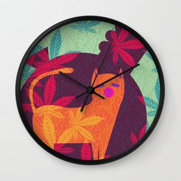 Cat Foliage 06 Wall Clock