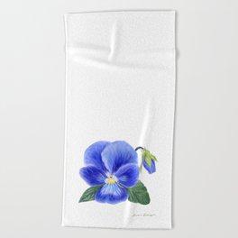 Purple Pansy by Teresa Thompson Beach Towel