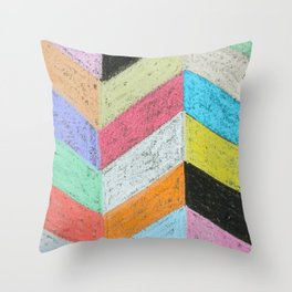 Broken Chevron Chalk Art Throw Pillow