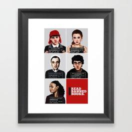 Banned Books Mugshots (Red) Framed Art Print