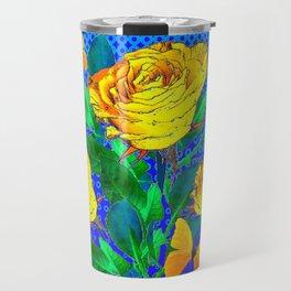 YELLOW BUTTERFLIES, ROSES, & BLUE OPTICAL ART Travel Mug