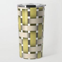 Golden Woven Basket-Look Travel Mug